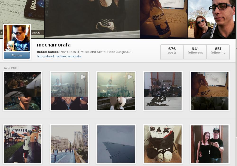 Versão anterior do Instagram para a Web.