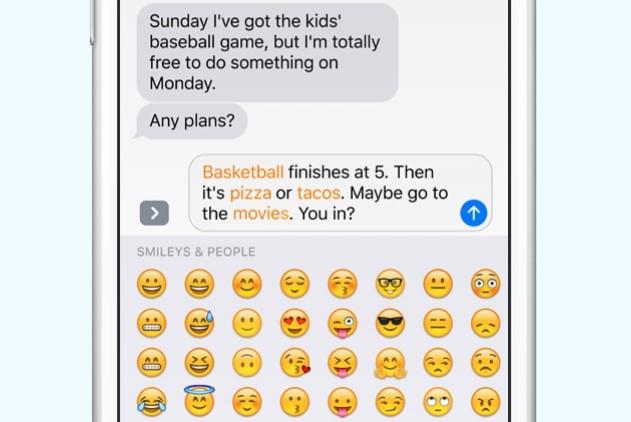 Substituição de palavras por emoji.